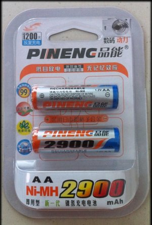 Set of 2 pcs 2900mAh Pineng NiMH Rechargeable Batteries