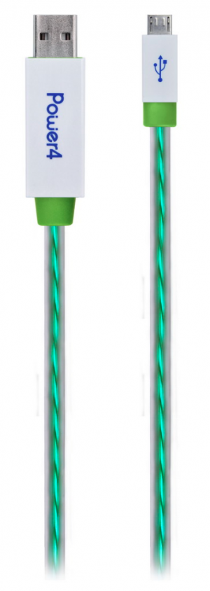 Power4 LED Flowing EL MicroUSB Sync & Charge Cable - Green