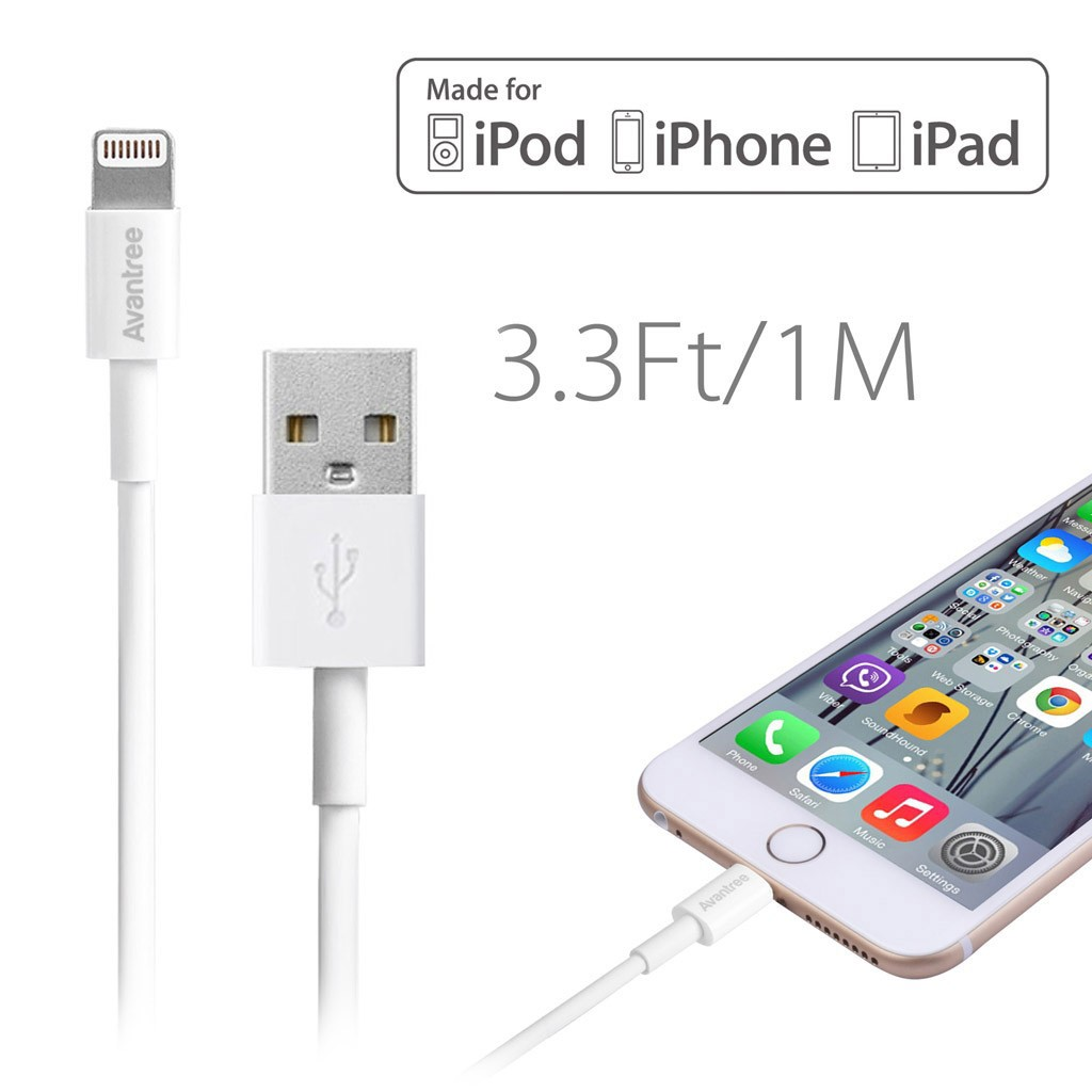 [Apple certified MFi] Avantree USB to Lightning Cable for iPhone